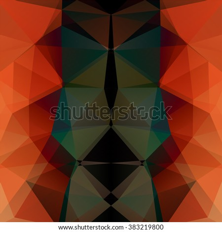 Background made of triangles.  Square composition with geometric shapes. Eps 10. Red, orange, black, green colors.  - stock vector