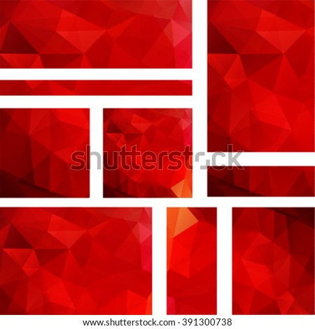 Background made of triangles. Square composition with geometric shapes. Eps 10. Set polygonal background. Red color.  - stock vector