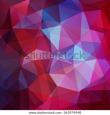 Background made of triangles. Square composition with geometric shapes. Red, pink, purple colors. Eps 10 - stock vector