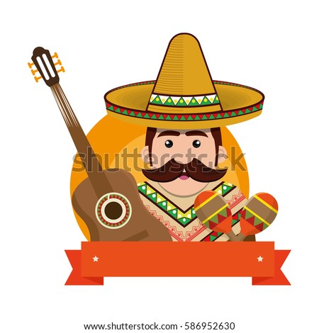 background man with moustache and mexican elements