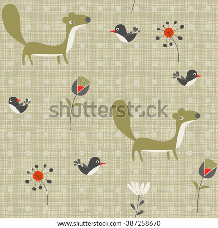 background martens, birds and flowers - stock vector