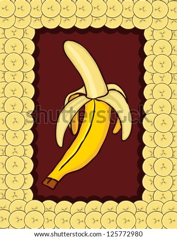 Background of banana, vector illustration
