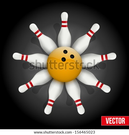 Background of bowling pins and ball with a flower. Vector illustration of sports competitions. Isolated and editable.