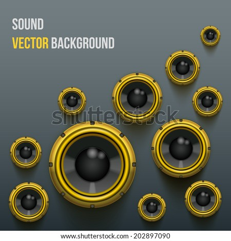 Background of bright orange Sound speakers Dynamics. Vector Illustration. - stock vector