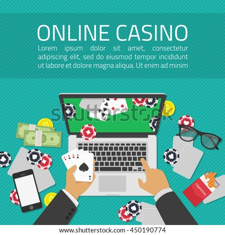 Background of Casino online. Online poker app on laptop screen, cards and poker chips all around. Illustration of casino online in flat style. Concepts web banner, games of chance. - stock vector