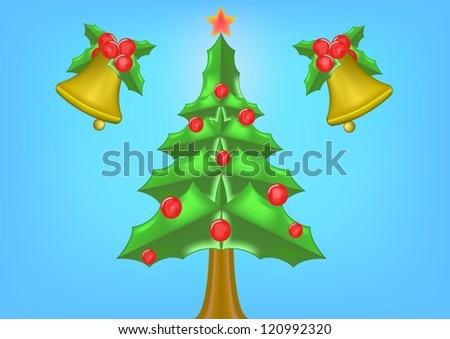 Background of christmas bell and christmas tree . - stock vector
