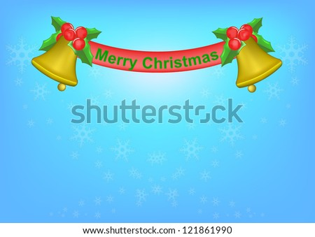 Background of christmas bell and golden ribbon . - stock vector