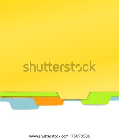Background of color paper folders - stock vector