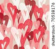Background of colorful hearts. Hand drawn illustration, vector. - stock vector