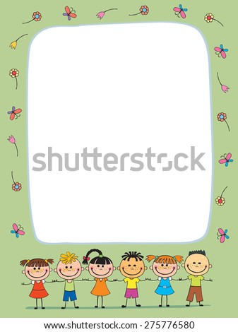background of different nationalities, with a large banner, writing, message, card.