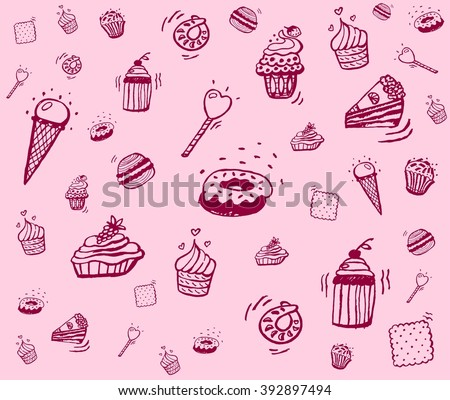 background of different sweets