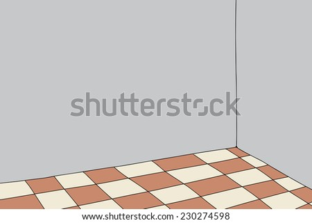 Background of empty room with brown checkered floor