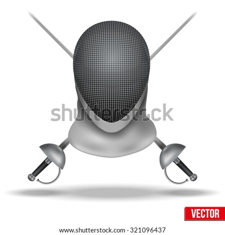 Background of Fencing symbol. Epees and helmet mask. Traditional sport defense and attack. Vector illustration.