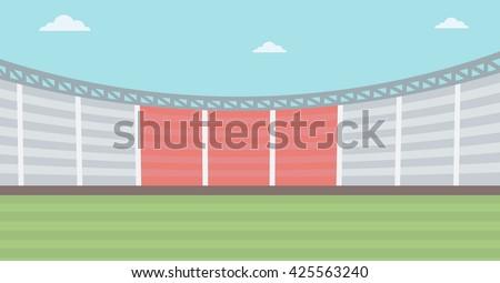 Background of football stadium vector flat design illustration. Horizontal layout. - stock vector