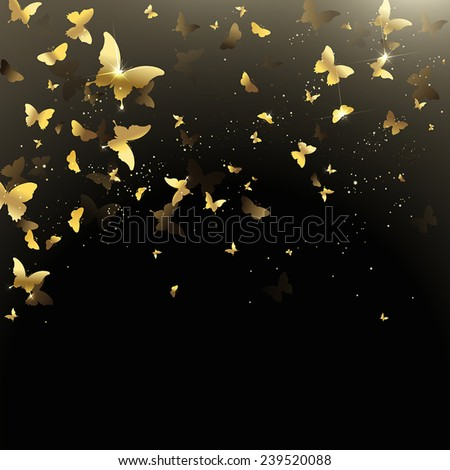 background of golden confetti butterflies - stock vector