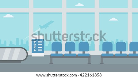 Background of hall at airport. - stock vector