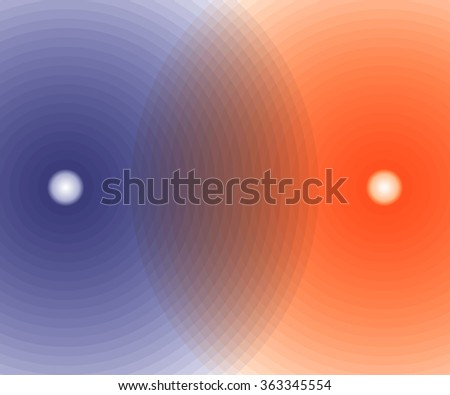 background of intersecting blue and orange spheres. vector illustration - stock vector