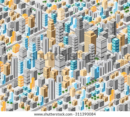 Background of isometric city with hundreds of different houses, offices, skyscrapers, supermarkets and streets with traffic. - stock vector