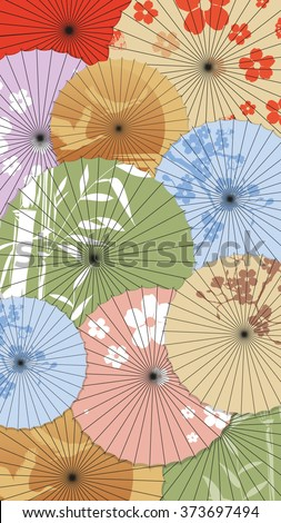 Background of Japanese umbrellas