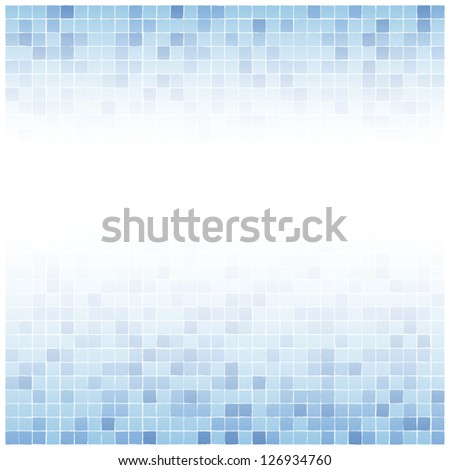 Background of little irregular blue tiles with white center fade - stock vector