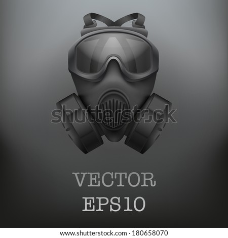 Background of Military black gasmask respirator. Vector illustration. Rubber army symbol of defense and protect. Isolated on white background. Editable. - stock vector