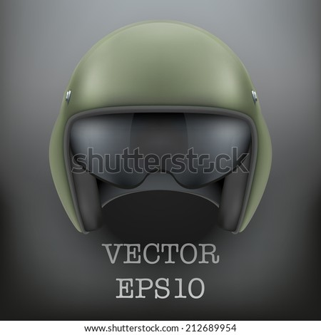 Background of Military flight helicopter helmet. Vector illustration isolated on white background. - stock vector