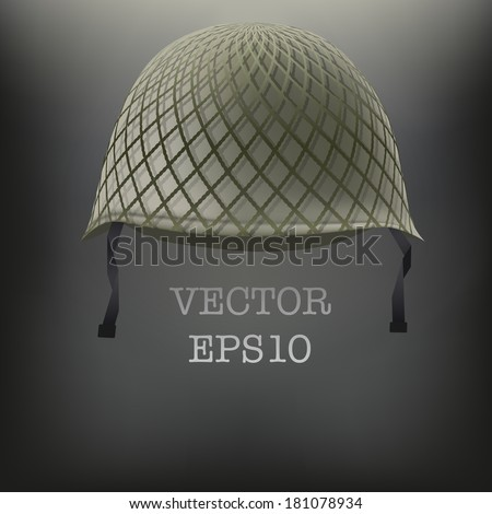 Background of Military green helmet. Space for text. Vector illustration. Metal army symbol of defense and protection. Isolated on white background. Editable. - stock vector