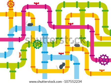 background of multicolored pipes with valve and funny mice - stock vector