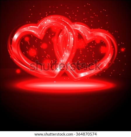 Background of pair of Valentine`s hearts. - stock vector