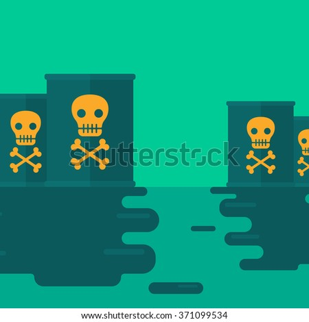 Background of polluted water with radioactive barrel. - stock vector