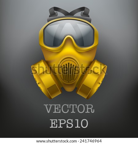 Background of safe chemical antiviral gas mask respirator. Vector illustration. Rubber army symbol of defense and protect. Isolated on white background. - stock vector