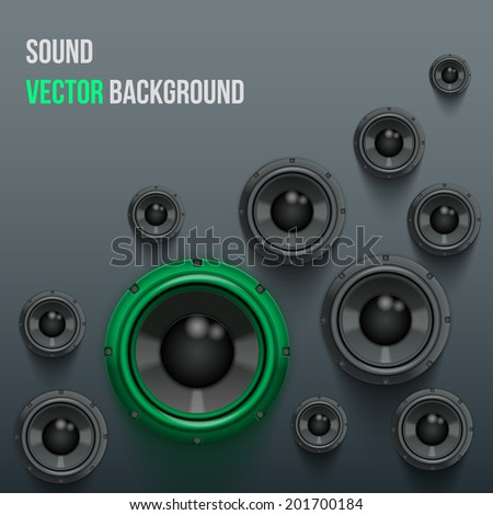 Background of Sound speakers Dynamics with one green piece. Vector Illustration.