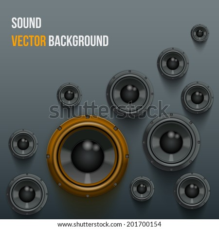 Background of Sound speakers Dynamics with one orange piece. Vector Illustration.