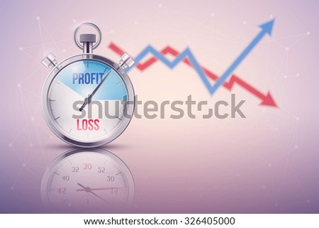 Background of stopwatch for forex trader. Time to market trading. Profit and loss. Editable Vector Illustration isolated on white background. - stock vector
