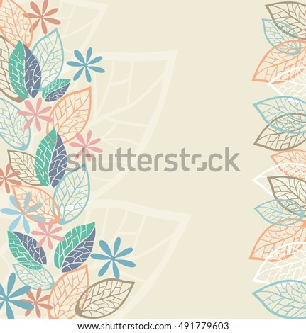 Background of stylized flowers and leaves for greeting cards. Stock vector illustration