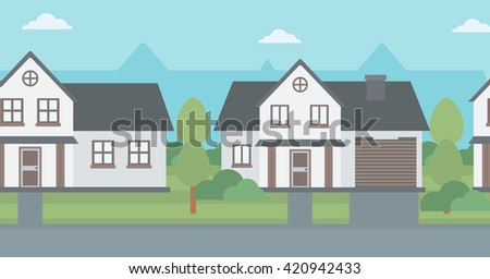Background of suburban houses.