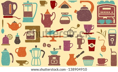 Background of tea and coffee - stock vector