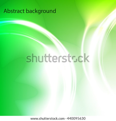 Background of the circles with the glow effect . Circles of light with a magical glow . Green abstract background . - stock vector