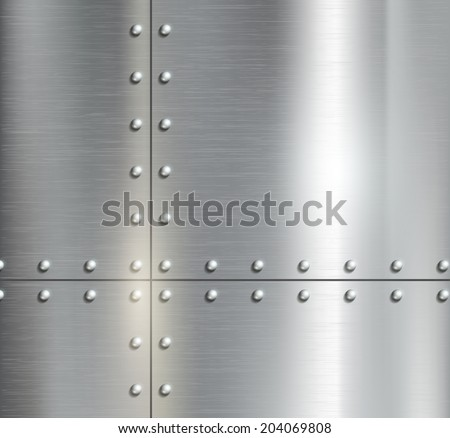 Background of the metal plates with riveted - stock vector