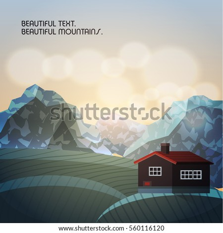 Background of the Scandinavian landscape. The house with a red roof on a background of meadow and mountains.