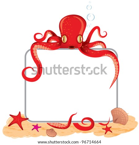 Background of the vector octopus, which holds a sign - stock vector