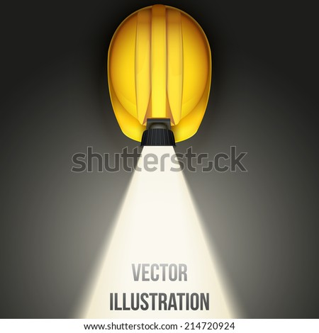 Background of Top view of Classic vintage miners helmet with lamp and light. Vector illustration on a white background - stock vector