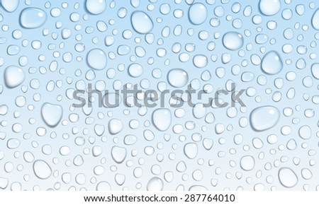 Background of water droplets on the surface in light blue colors - stock vector