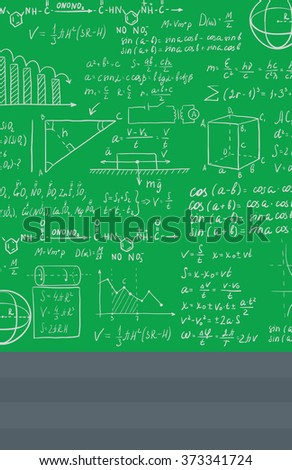 Background of white blackboard with mathematical equations. - stock vector