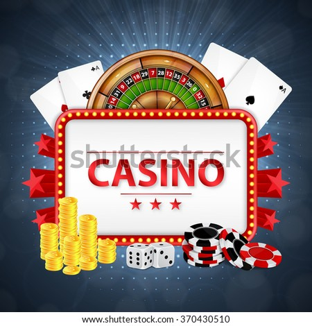 Background on a casino theme. Casino background. Roulette, cards, poker chips and coins with place for text. EPS10 vector - stock vector