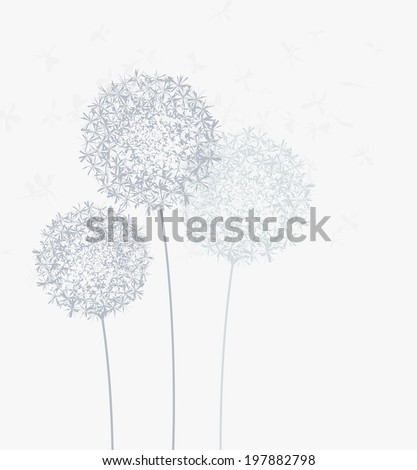 background on meadow of dandelions - stock vector