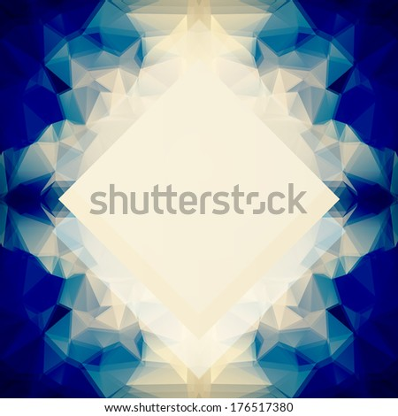 Background or poster/cover template with saturated blue and beige abstract geometric layered polygonal pattern and place for your text in the center - stock vector