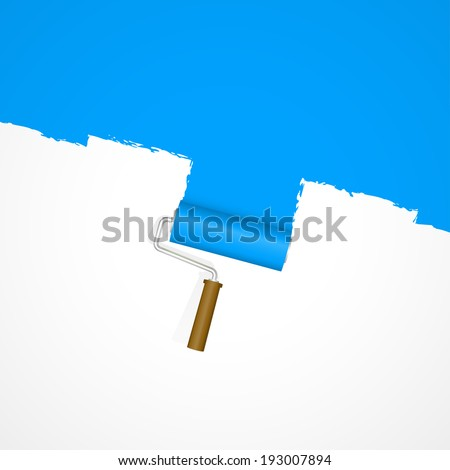 Background paint roller - repainting blue - stock vector