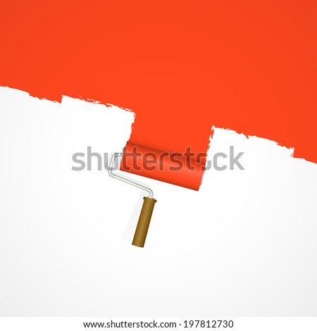 Background paint roller - repainting red - stock vector
