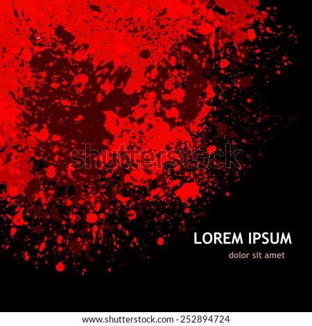 background paint stains black and red. Vector - stock vector